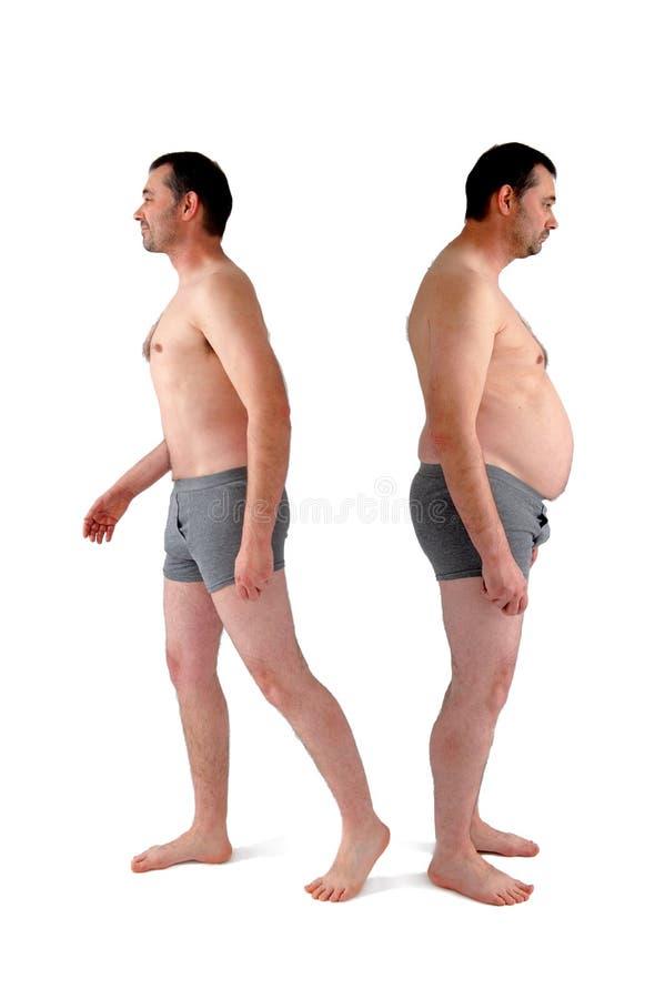Homem antes e depois da dieta foto de stock royalty free