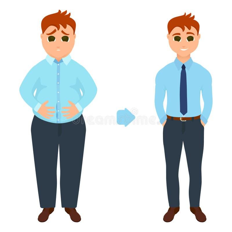 Homem antes e depois da perda de peso ilustração royalty free