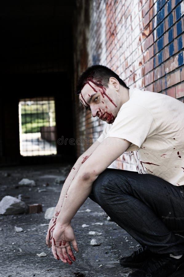 Homem após a luta fotografia de stock