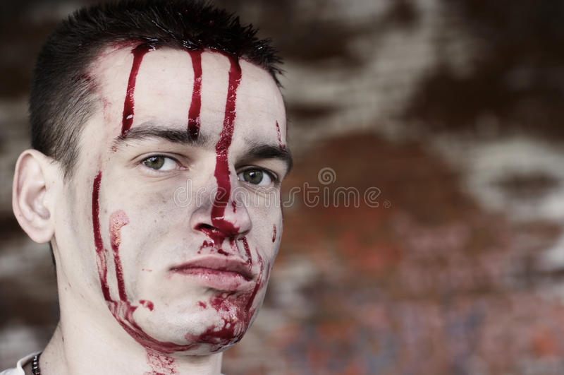 Homem após a luta fotografia de stock royalty free