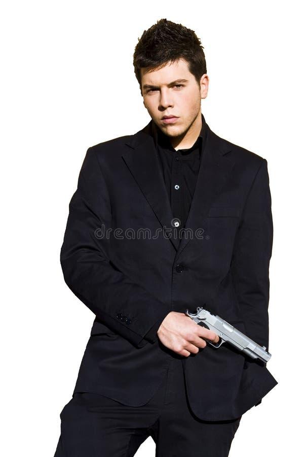 Homem armado elegante vestido. fotos de stock