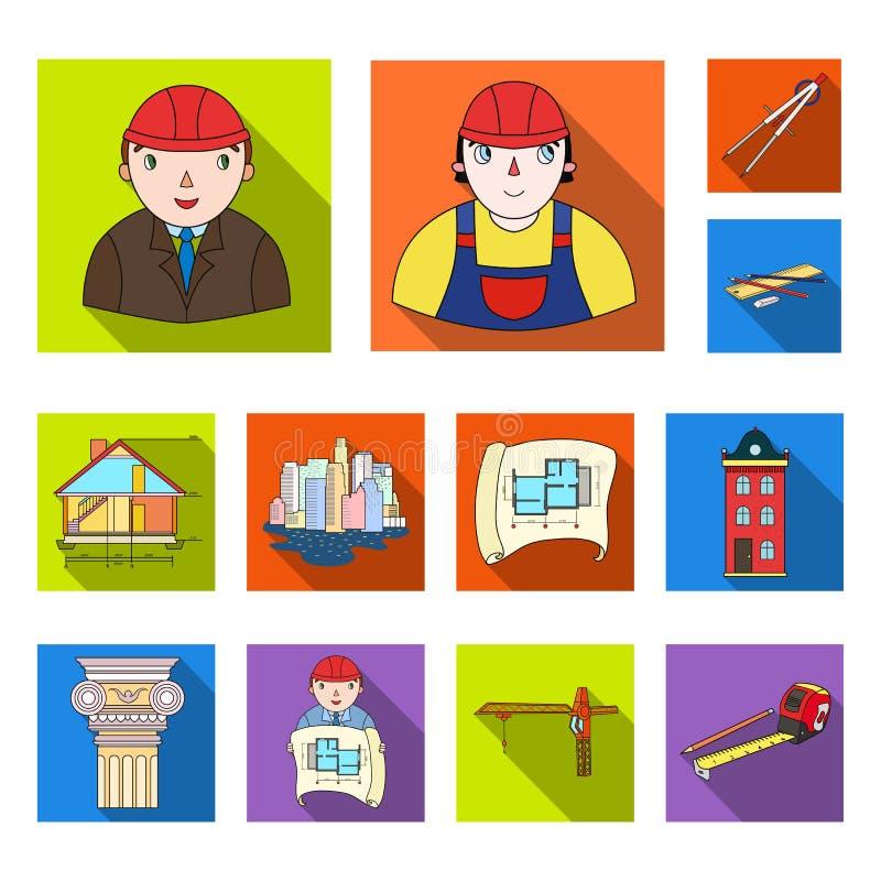 Homem, arquiteto, plano, desenho, guindaste, levantando, máquina, fita, medida, lápis, arquitetura, construção, arte, monumento ilustração royalty free