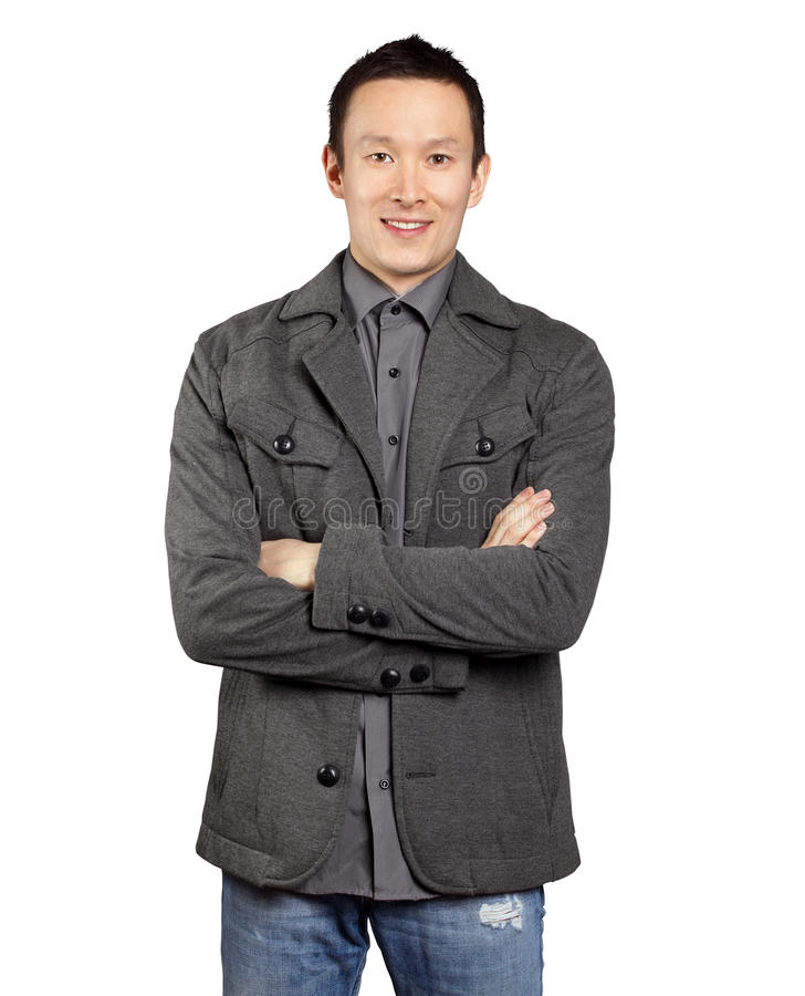 Homem asiático com mãos dobradas foto de stock royalty free