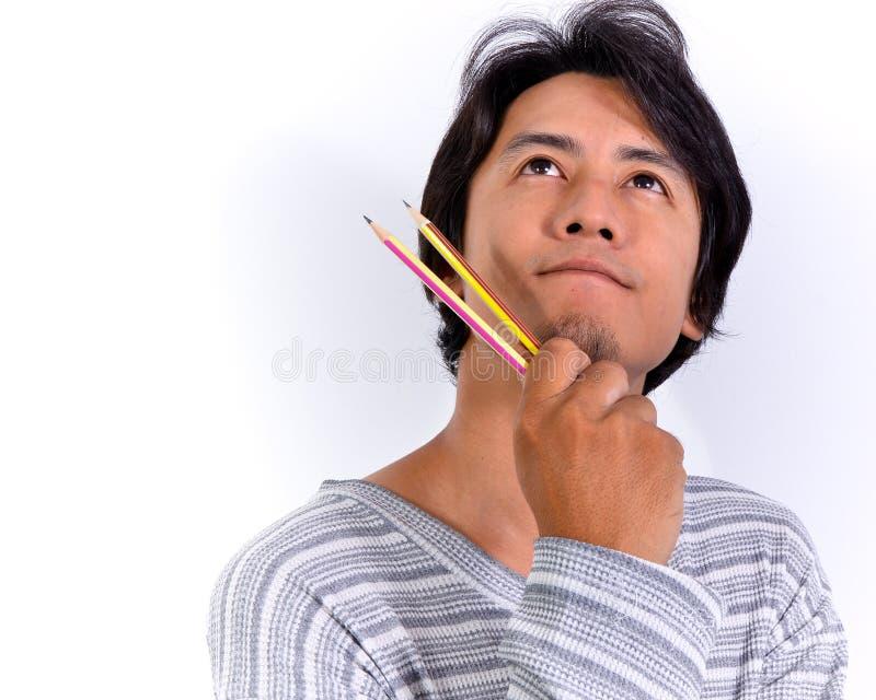 Homem asiático de pensamento foto de stock