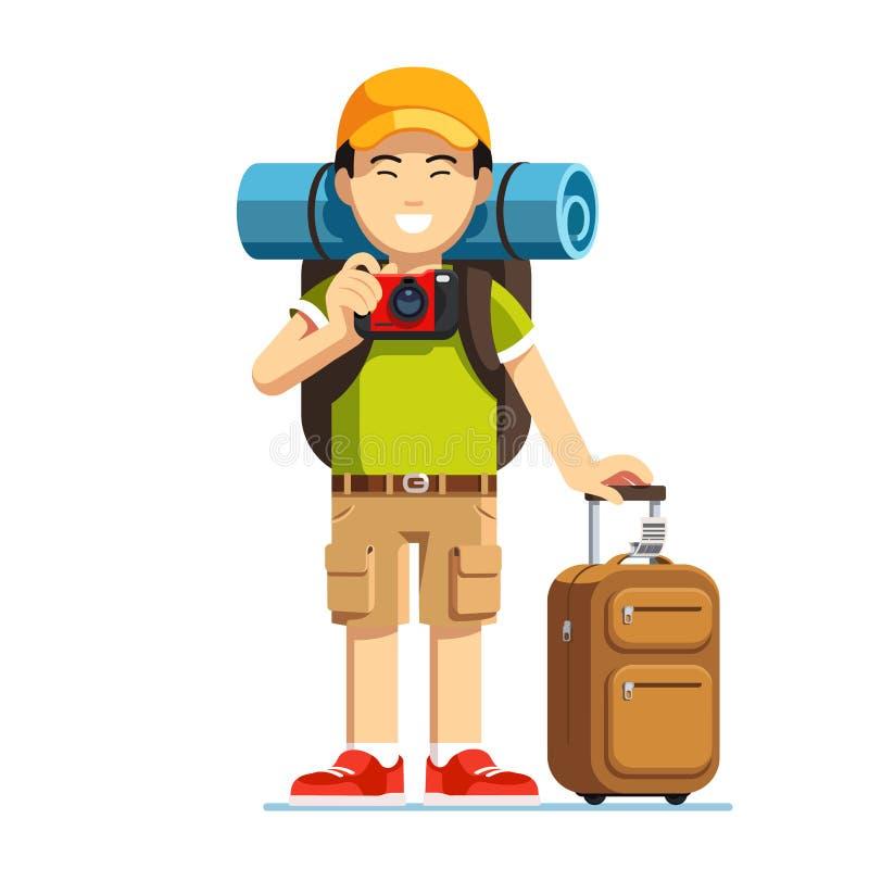 Homem asiático entusiasmado do turista que está com bagagem ilustração stock