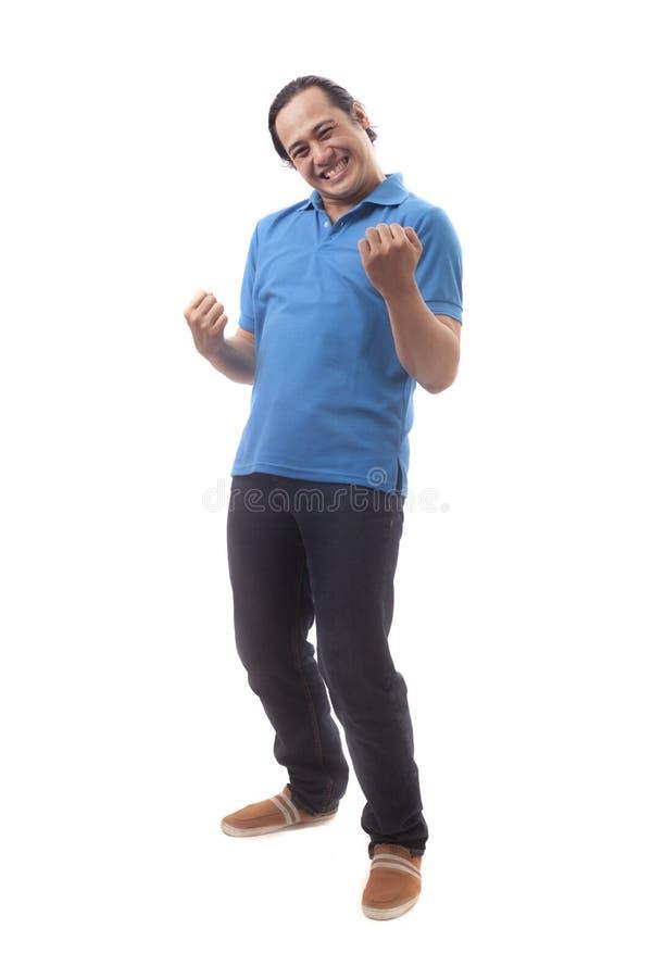 Homem asiático feliz surpreendido imagem de stock