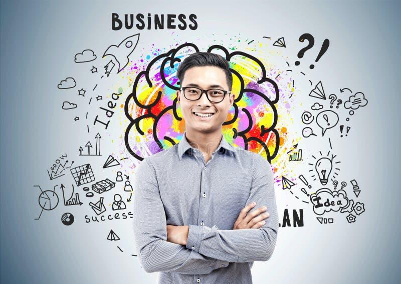 Homem asiático seguro nos vidros, ideia do negócio fotos de stock