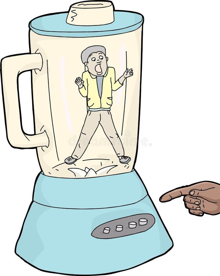 Homem assustado colado no misturador ilustração do vetor