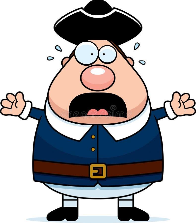 Homem assustado do Colonial dos desenhos animados ilustração stock