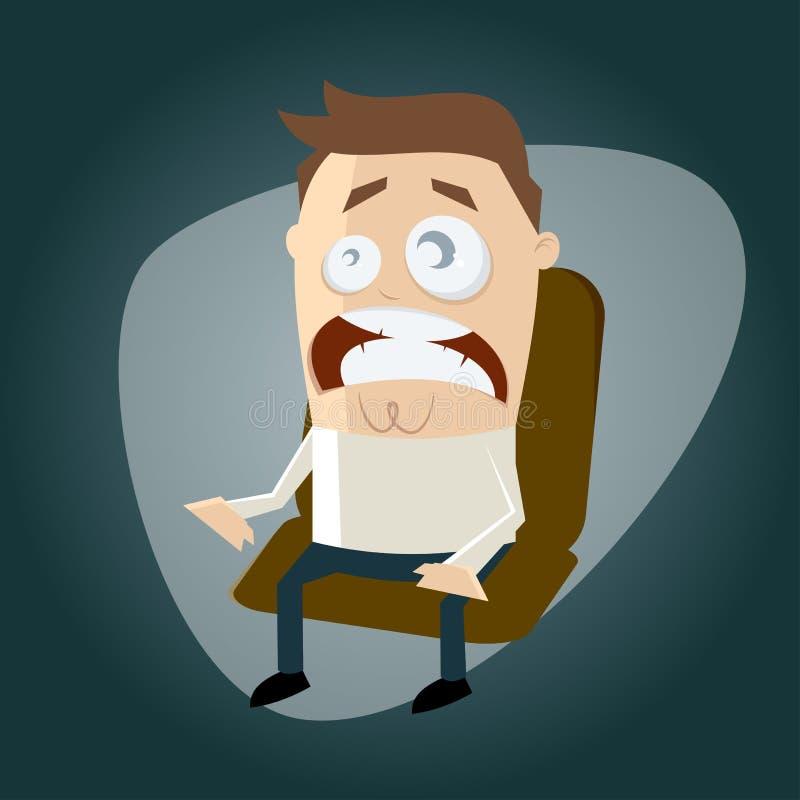 Homem assustado dos desenhos animados ilustração stock