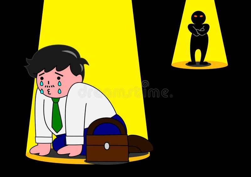 Homem assustado pelo inimigo ilustração royalty free