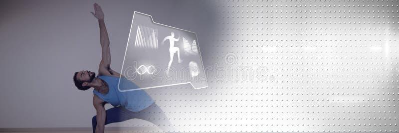 Homem atlético do ajuste que exercita a ioga com relação da saúde ilustração stock
