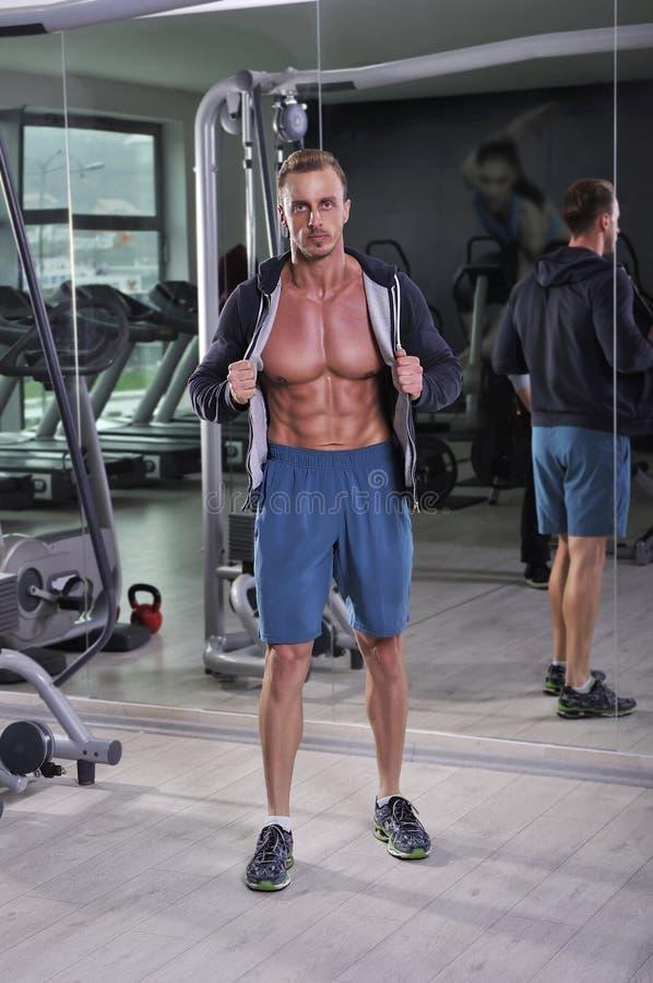 Homem atlético poderoso considerável que levanta no gym imagem de stock royalty free