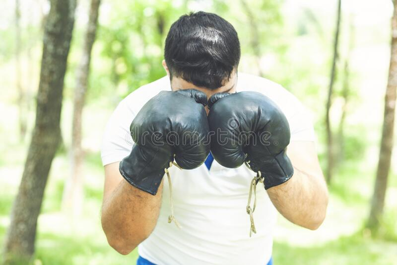 Homem Atleta concentrou o rosto com luvas esportivas praticando boxe na natureza Boxer pronto para lutar boxeador desportista imagens de stock