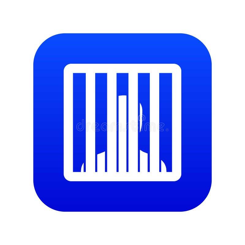 Homem atrás do azul digital do ícone das barras da cadeia ilustração do vetor