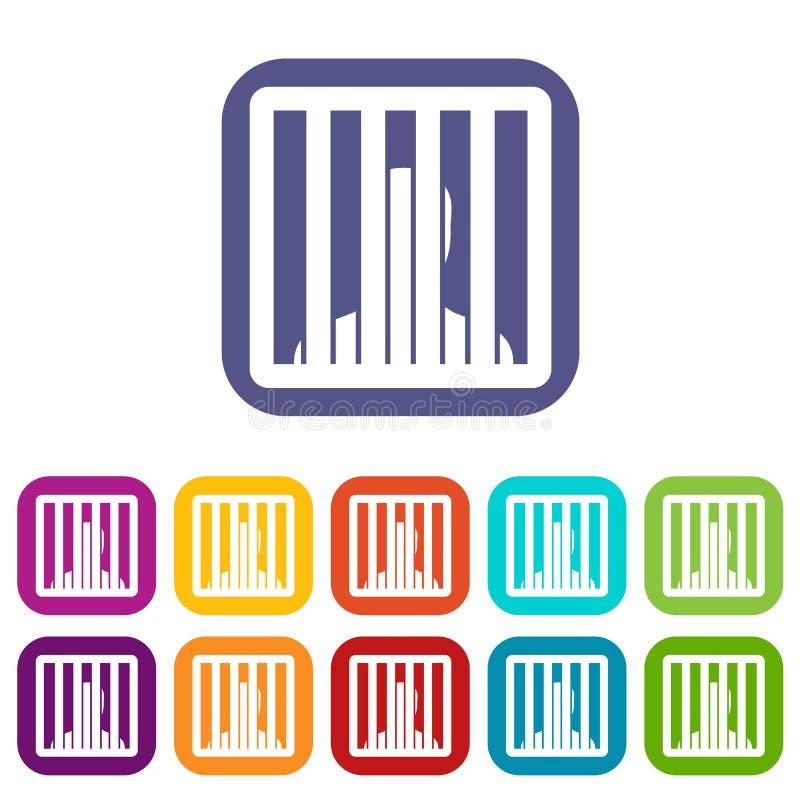 Homem atrás dos ícones das barras da cadeia ajustados ilustração do vetor