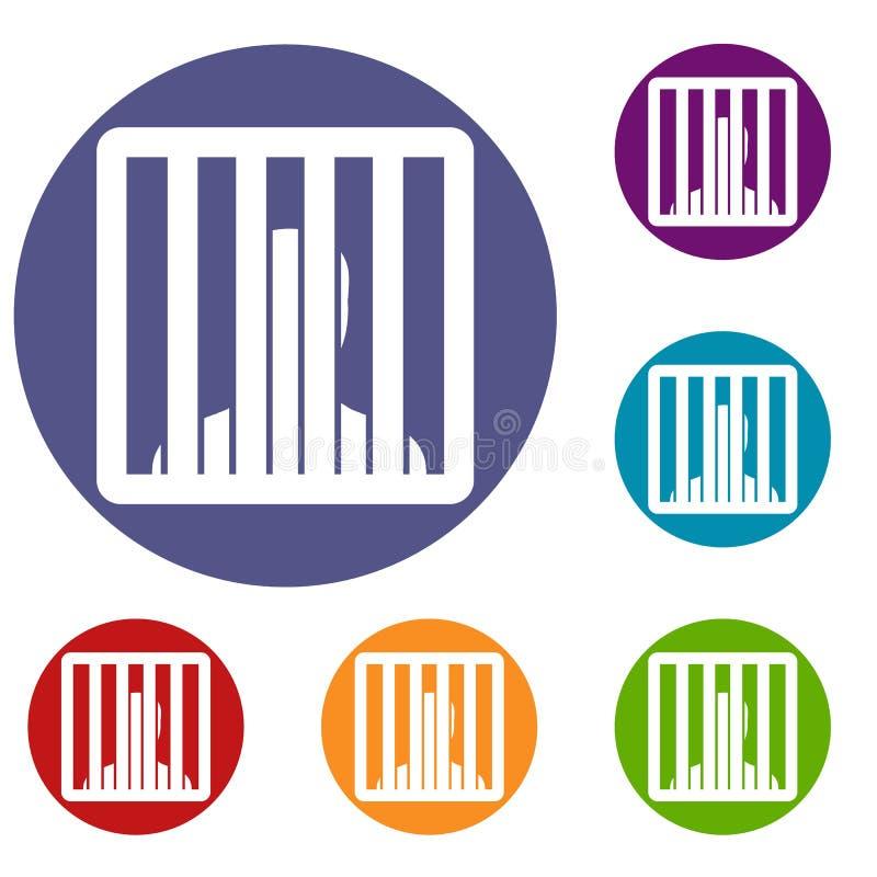 Homem atrás dos ícones das barras da cadeia ajustados ilustração stock