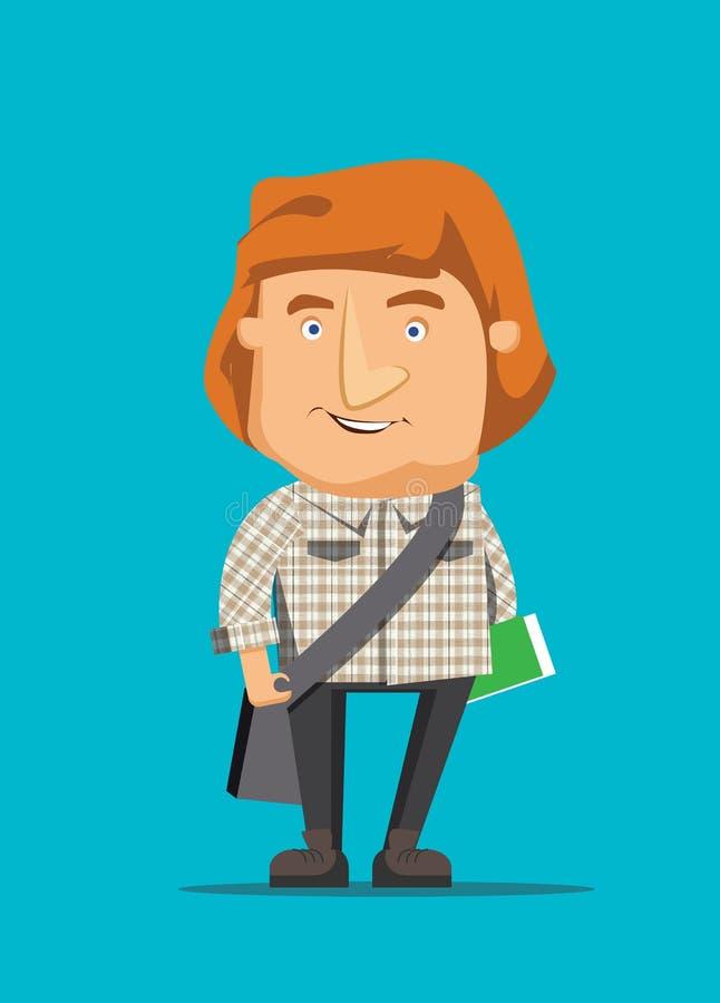Homem australiano que viaja e que guarda a ilustração de livro ilustração stock