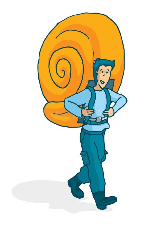 Homem aventuroso que leva um shell enorme do caracol como a trouxa ilustração royalty free