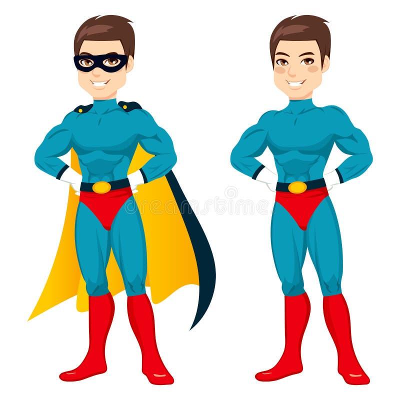 Homem azul do super-herói ilustração do vetor