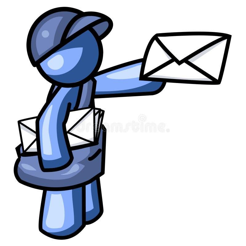 Homem azul que entrega o logotipo do correio ilustração stock