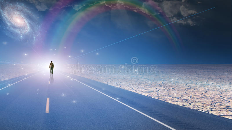Homem banhado na luz e na estrada ilustração do vetor