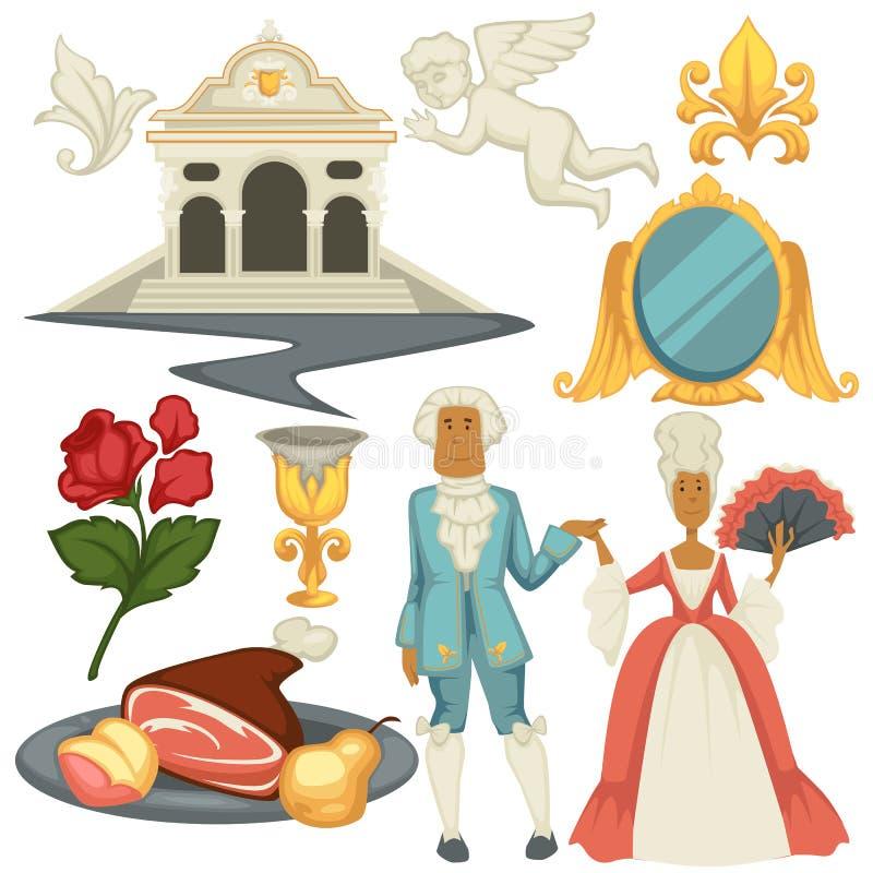 Homem barroco e mulher do epoche nas perucas arquitetura e culinária ilustração do vetor