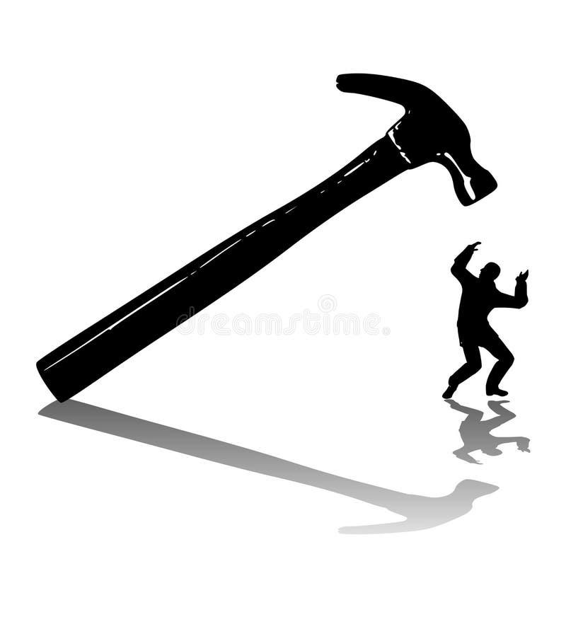 Homem batido com um martelo ilustração stock
