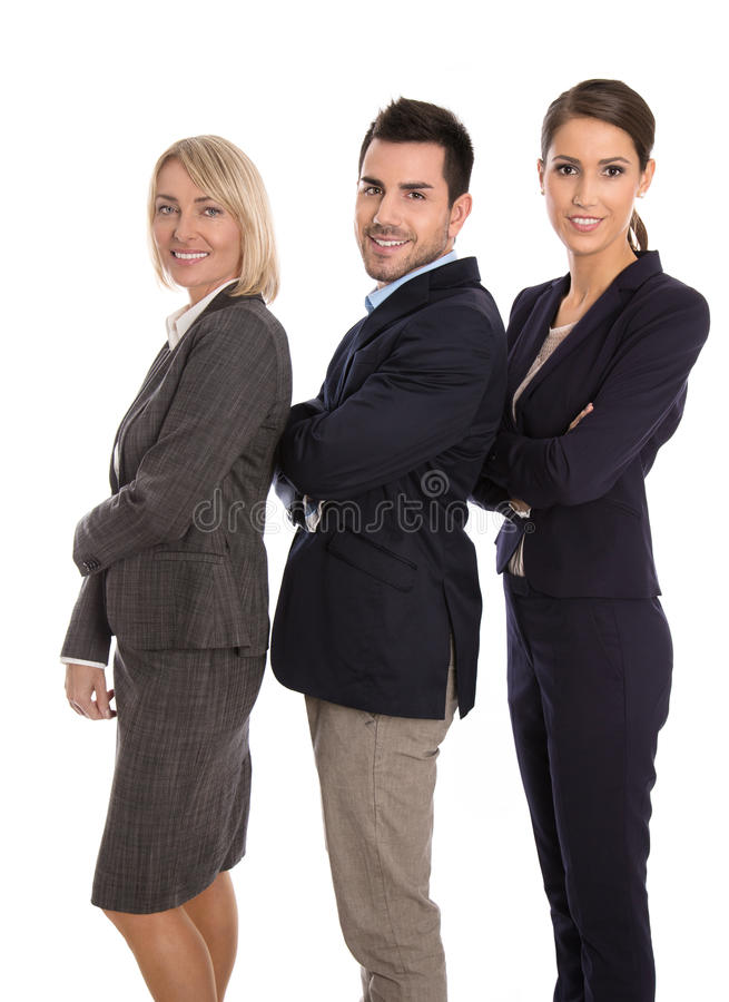 Homem bem sucedido isolado e equipe fêmea do negócio fotos de stock