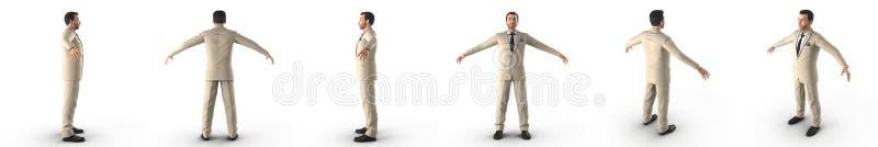 Homem bem vestido no terno e laço que está na ilustração 3D branca ilustração do vetor