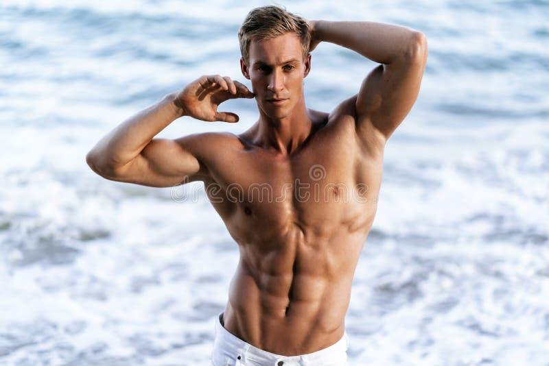 Homem bonito com o torso muscular despido na praia branca da areia foto de stock royalty free
