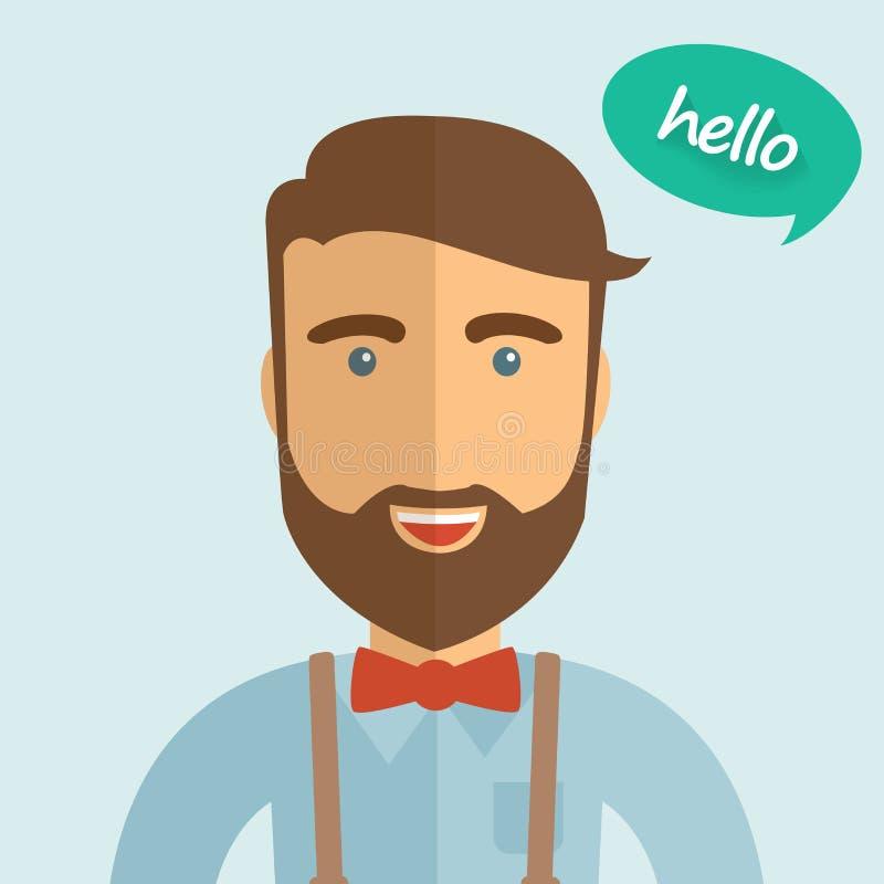 Homem bonito do moderno com bowtie e barba, ilustração lisa do projeto fotos de stock royalty free