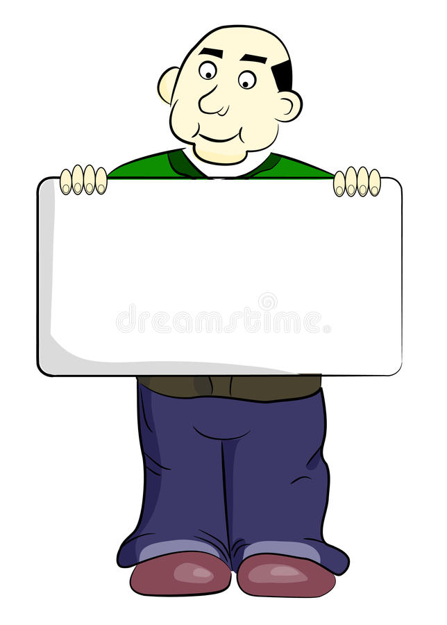 Homem bonito dos desenhos animados com um sinal ilustração stock