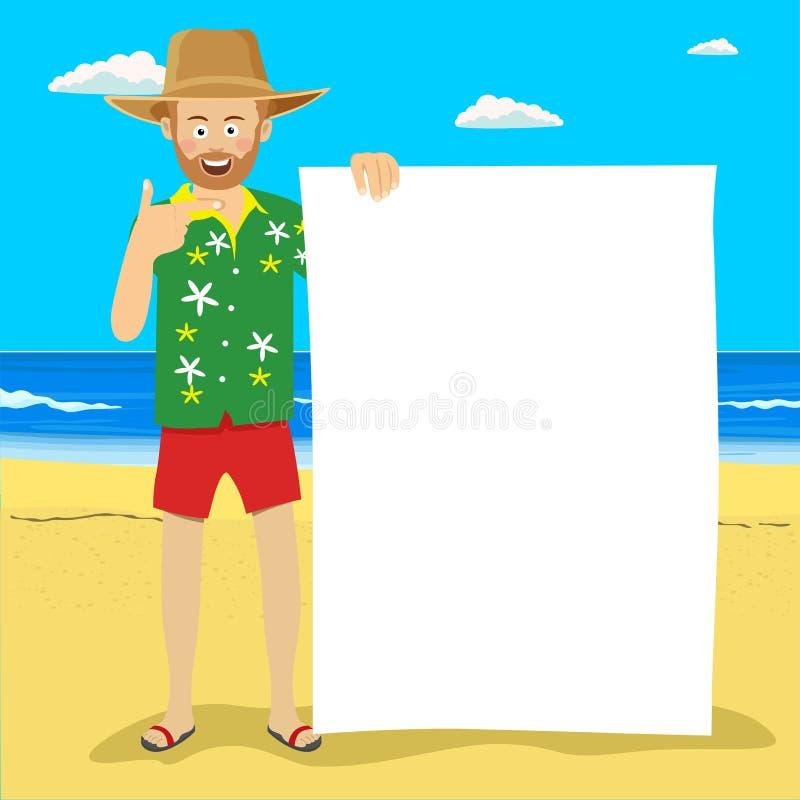 Homem bonito novo no chapéu de palha da palma com placa vazia na praia tropical ilustração stock