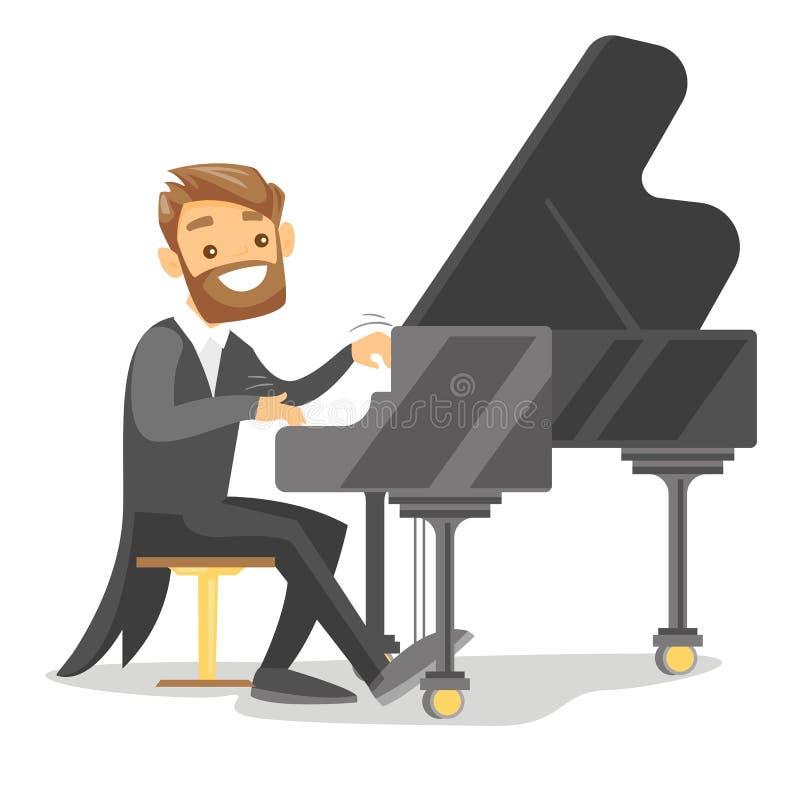 Homem branco caucasiano novo que joga o piano ilustração stock