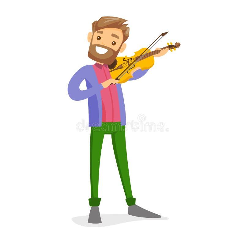 Homem branco caucasiano novo que joga o violino ilustração do vetor