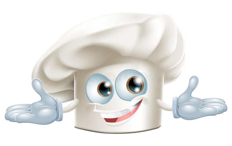 Homem branco feliz dos desenhos animados do chapéu dos cozinheiros chefe ilustração royalty free