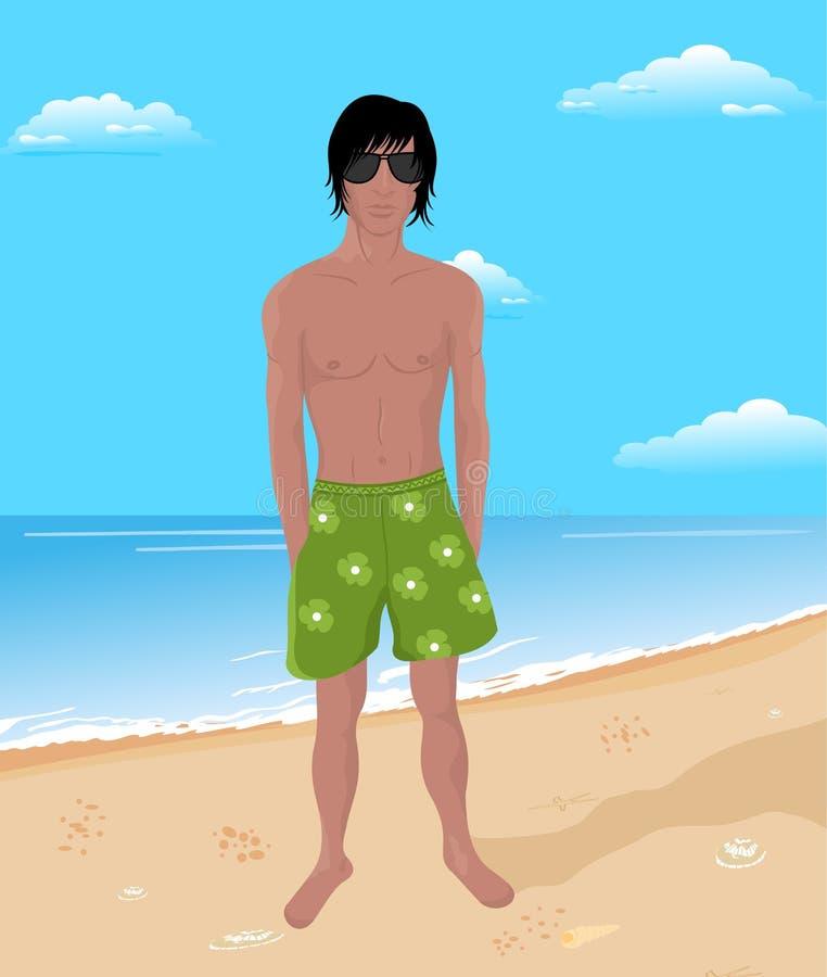Homem Brawny na praia ilustração do vetor