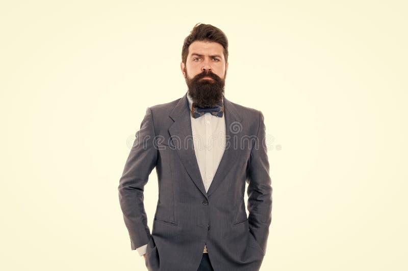 Homem brutal seguro Homem farpado Partido de escrit?rio Moderno maduro com barba homem de neg?cios no terno formal Um homem s?rio imagem de stock royalty free