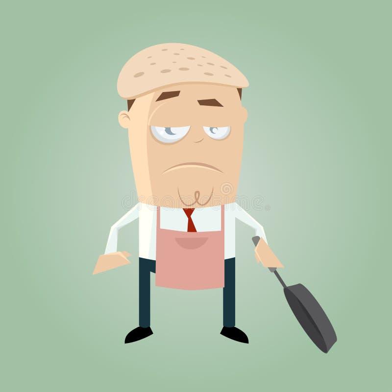 Homem cômico engraçado com uma panqueca em sua cabeça ilustração do vetor