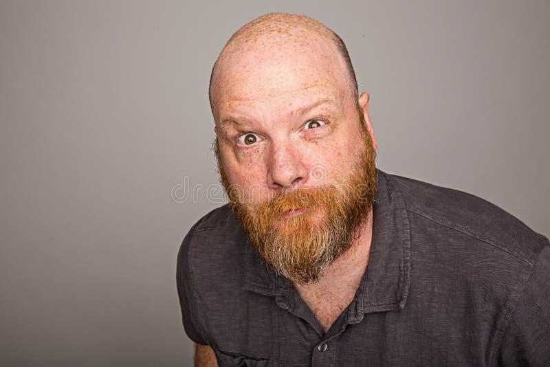 Homem calvo com barba foto de stock royalty free