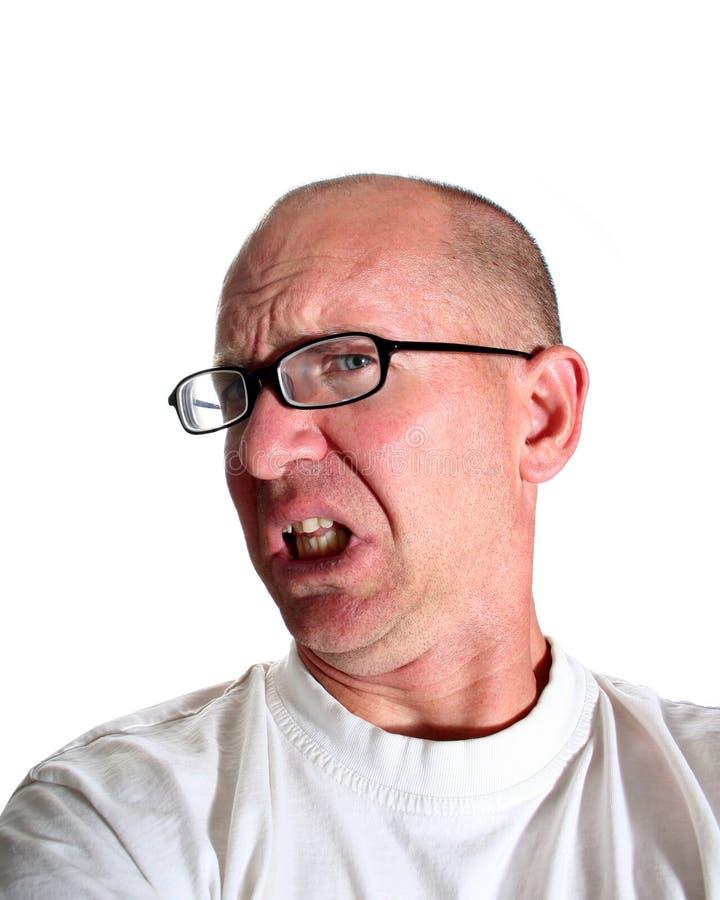 Homem calvo Eyed azul repugnado fotos de stock
