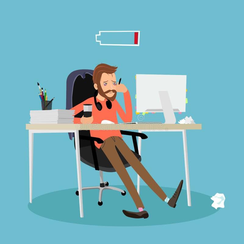 Homem cansado no trabalho imagem de stock royalty free