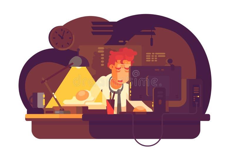Homem cansado que trabalha no escritório da noite ilustração royalty free