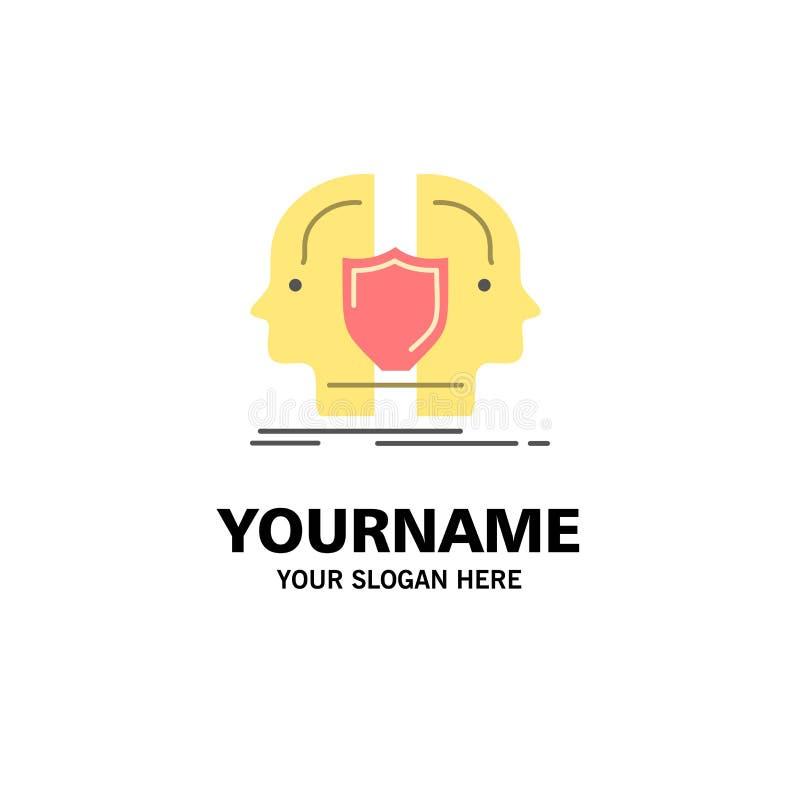 Homem, cara, dupla, identidade, negócio Logo Template do protetor cor lisa ilustração royalty free