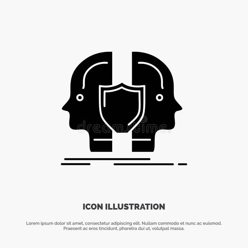 Homem, cara, dupla, identidade, vetor contínuo do ícone do Glyph do protetor ilustração royalty free