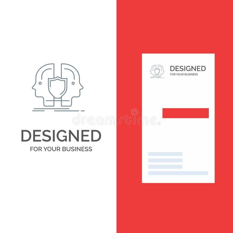Homem, cara, duplo, identidade, protetor Grey Logo Design e molde do cartão ilustração stock