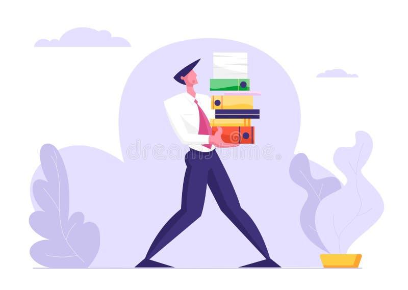 Homem Carry Huge Steak de dobradores dos documentos Homem de negócios, sobrecarga do caráter do empregado de escritório no trabal ilustração do vetor