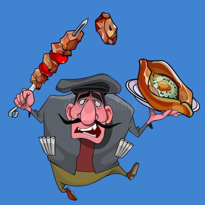 Homem caucasiano dos desenhos animados com assado e khachapuri em suas mãos ilustração do vetor