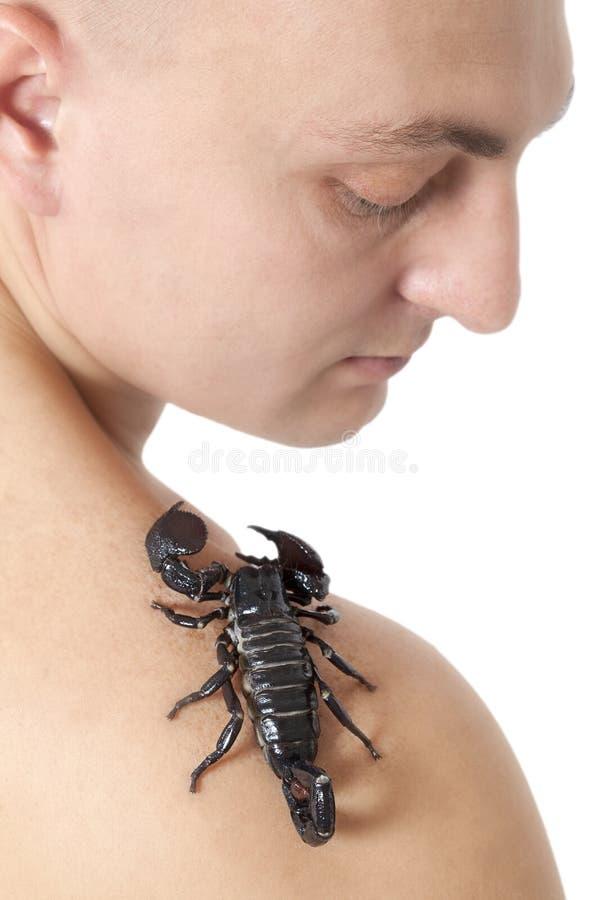 Download Homem Novo Com O Escorpião Em Seu Ombro Foto de Stock - Imagem de sting, face: 29839580